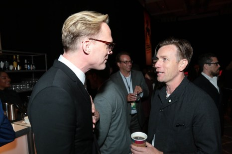 "Paul Bettany and Ewan McGregor chat at the after party at the world premiere of ""Solo: A Star Wars Story"" in Hollywood on May 10, 2018. (Photo: Alex J. Berliner/ABImages)"
