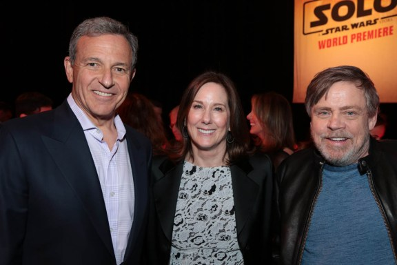"Bob Iger, Kathleen Kennedy and Mark Hamill pose together at the after party during the world premiere of ""Solo: A Star Wars Story"" in Hollywood on May 10, 2018. (Photo: Alex J. Berliner/ABImages)"