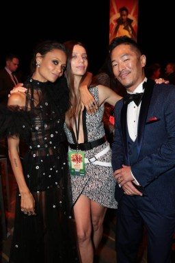 """Thandie Newton, Angela Sarafyan and Leonardo Nam pose together at the after party during the world premiere of """"Solo: A Star Wars Story"""" in Hollywood on May 10, 2018. (Photo: Alex J. Berliner/ABImages)"""