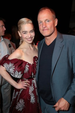 "Emilia Clarke and Woody Harrelson pose together at the after party during the world premiere of ""Solo: A Star Wars Story"" in Hollywood on May 10, 2018. (Photo: Alex J. Berliner/ABImages)"