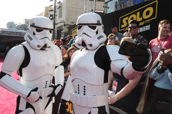 """Stormtroopers 'selfie' at the world premiere of """"Solo: A Star Wars Story"""" in Hollywood on May 10, 2018. (Photo: Alex J. Berliner/ABImages)"""