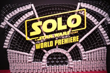 "Solo Cup Installation at the world premiere of ""Solo: A Star Wars Story"" in Hollywood on May 10, 2018. (Photo: Alex J. Berliner/ABImages)"