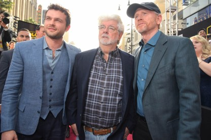 HOLLYWOOD, CA - MAY 10: (L-R) Actor Alden Ehrenreich, George Lucas, and Director Ron Howard attend the world premiere of ìSolo: A Star Wars Storyî in Hollywood on May 10, 2018. (Photo by Charley Gallay/Getty Images for Disney) *** Local Caption *** George Lucas; Ron Howard; Alden Ehrenreich