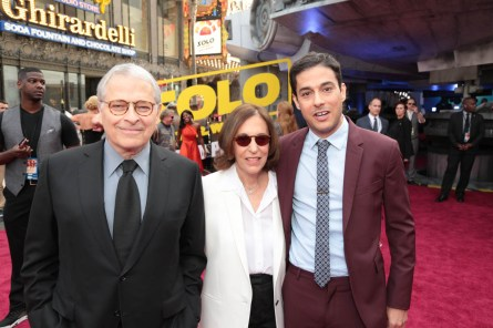 """Lawrence Kasdan, Meg Kasdan and Jonathan Kasdan attend the world premiere of """"Solo: A Star Wars Story"""" in Hollywood on May 10, 2018. (Photo: Alex J. Berliner/ABImages)"""
