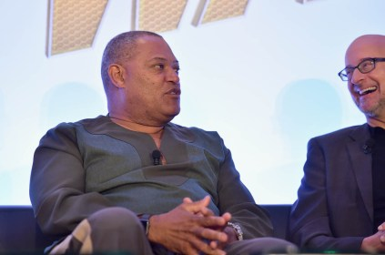 """LOS ANGELES, CA - JUNE 24: Laurence Fishburne and Peyton Reed speak onstage at Marvel Studios' """"Ant-Man And The Wasp"""" Global Junket Press Conference on June 24, 2018 in Los Angeles, United States. *** Local Caption *** Laurence Fishburne; Peyton Reed"""
