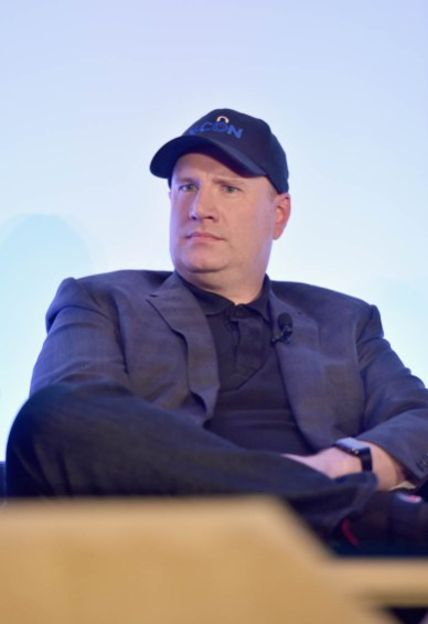 """LOS ANGELES, CA - JUNE 24: Marvel Studios President Kevin Feige speaks onstage at Marvel Studios' """"Ant-Man And The Wasp"""" Global Junket Press Conference on June 24, 2018 in Los Angeles, United States. (Photo by Alberto E. Rodriguez/Getty Images for Disney) *** Local Caption *** Kevin Feige"""