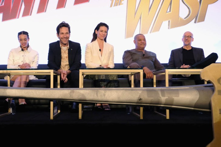 """LOS ANGELES, CA - JUNE 24: (L-R) Hannah John-Kamen, Paul Rudd, Evangeline Lilly, Laurence Fishburne and Peyton Reed speak onstage at Marvel Studios' """"Ant-Man And The Wasp"""" Global Junket Press Conference on June 24, 2018 in Los Angeles, United States. (Photo by Alberto E. Rodriguez/Getty Images for Disney) *** Local Caption *** Evangeline Lilly; Paul Rudd; Hannah John-Kamen; Laurence Fishburne; Peyton Reed"""