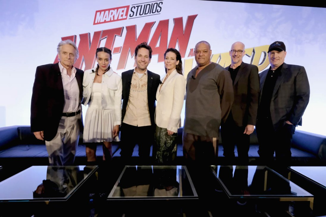 """LOS ANGELES, CA - JUNE 24: (L-R) Michael Douglas, Hannah John-Kamen, Paul Rudd, Evangeline Lilly, Laurence Fishburne, Peyton Reed and Marvel Studios President Kevin Feige attend Marvel Studios' """"Ant-Man And The Wasp"""" Global Junket Press Conference on June 24, 2018 in Los Angeles, United States. (Photo by Alberto E. Rodriguez/Getty Images for Disney) *** Local Caption *** Evangeline Lilly; Paul Rudd; Hannah John-Kamen; Michael Douglas; Laurence Fishburne; Peyton Reed; Kevin Feige"""
