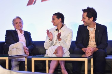 """LOS ANGELES, CA - JUNE 24: (L-R) Michael Douglas, Hannah John-Kamen and Paul Rudd speak onstage at Marvel Studios' """"Ant-Man And The Wasp"""" Global Junket Press Conference on June 24, 2018 in Los Angeles, United States. (Photo by Alberto E. Rodriguez/Getty Images for Disney) *** Local Caption *** Paul Rudd; Hannah John-Kamen; Michael Douglas"""