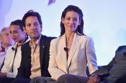 """LOS ANGELES, CA - JUNE 24: (L-R) Michael Douglas, Hannah John-Kamen, Paul Rudd and Evangeline Lilly speak onstage at Marvel Studios' """"Ant-Man And The Wasp"""" Global Junket Press Conference on June 24, 2018 in Los Angeles, United States. (Photo by Alberto E. Rodriguez/Getty Images for Disney) *** Local Caption *** Evangeline Lilly; Paul Rudd; Hannah John-Kamen; Michael Douglas"""