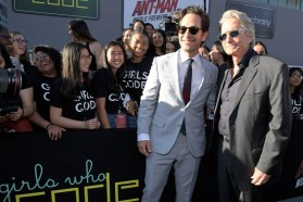 """HOLLYWOOD, CA - JUNE 25: Actors Paul Rudd (L) and Michael Douglas and Girls Who Code attend the Los Angeles Global Premiere for Marvel Studios' """"Ant-Man And The Wasp"""" at the El Capitan Theatre on June 25, 2018 in Hollywood, California. (Photo by Charley Gallay/Getty Images for Disney) *** Local Caption *** Michael Douglas; Paul Rudd"""