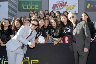 "HOLLYWOOD, CA - JUNE 25: Actors Paul Rudd (L) and Michael Douglas and Girls Who Code attend the Los Angeles Global Premiere for Marvel Studios' ""Ant-Man And The Wasp"" at the El Capitan Theatre on June 25, 2018 in Hollywood, California. (Photo by Charley Gallay/Getty Images for Disney) *** Local Caption *** Michael Douglas; Paul Rudd"
