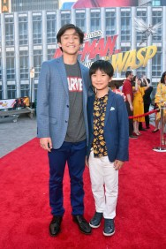 """HOLLYWOOD, CA - JUNE 25: Forrest Wheeler (L) and Ian Chen attend the Los Angeles Global Premiere for Marvel Studios' """"Ant-Man And The Wasp"""" at the El Capitan Theatre on June 25, 2018 in Hollywood, California. (Photo by Alberto E. Rodriguez/Getty Images for Disney) *** Local Caption *** Forrest Wheeler; Ian Chen"""