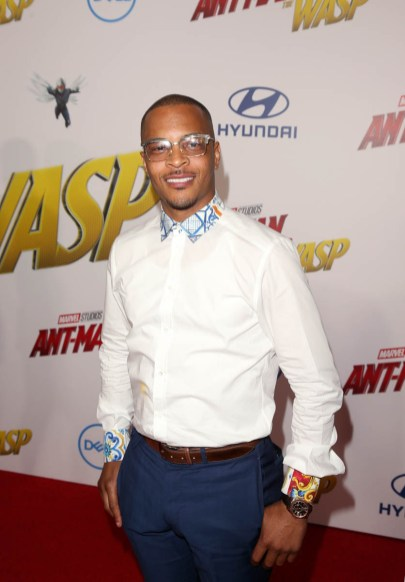 """HOLLYWOOD, CA - JUNE 25: Actor Tip """"T.I."""" Harris.attends the Los Angeles Global Premiere for Marvel Studios' """"Ant-Man And The Wasp"""" at the El Capitan Theatre on June 25, 2018 in Hollywood, California. (Photo by Jesse Grant/Getty Images for Disney) *** Local Caption *** Tip """"T.I."""" Harris"""