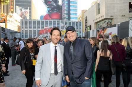 """HOLLYWOOD, CA - JUNE 25: Actor Paul Rudd (L) and Producer Kevin Feige attend the Los Angeles Global Premiere for Marvel Studios' """"Ant-Man And The Wasp"""" at the El Capitan Theatre on June 25, 2018 in Hollywood, California. (Photo by Charley Gallay/Getty Images for Disney) *** Local Caption *** Kevin Feige; Paul Rudd"""