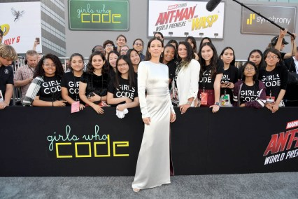 """HOLLYWOOD, CA - JUNE 25: Actor Evangeline Lilly and Girls Who Code attend the Los Angeles Global Premiere for Marvel Studios' """"Ant-Man And The Wasp"""" at the El Capitan Theatre on June 25, 2018 in Hollywood, California. (Photo by Charley Gallay/Getty Images for Disney) *** Local Caption *** Evangeline Lilly"""