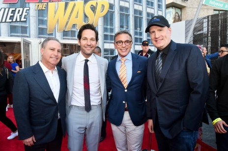 """HOLLYWOOD, CA - JUNE 25: (L-R) Walt Disney Studios President, Alan Bergman, actor Paul Rudd, President, Marketing, The Walt Disney Studios, Ricky Strauss and Producer Kevin Feige attend the Los Angeles Global Premiere for Marvel Studios' """"Ant-Man And The Wasp"""" at the El Capitan Theatre on June 25, 2018 in Hollywood, California. (Photo by Alberto E. Rodriguez/Getty Images for Disney) *** Local Caption *** Alan Bergman; Paul Rudd; Ricky Strauss; Kevin Feige"""