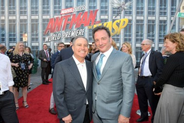 "HOLLYWOOD, CA - JUNE 25: Walt Disney Studios President Alan Bergman (L) and Executive Producer Louis D'Esposito attend the Los Angeles Global Premiere for Marvel Studios' ""Ant-Man And The Wasp"" at the El Capitan Theatre on June 25, 2018 in Hollywood, California. (Photo by Charley Gallay/Getty Images for Disney) *** Local Caption *** Alan Bergman; Louis D'Esposito"