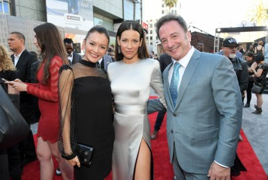"""HOLLYWOOD, CA - JUNE 25: Actor Evangeline Lilly (C) and Executive Producer Louis D'Esposito (R) attend the Los Angeles Global Premiere for Marvel Studios' """"Ant-Man And The Wasp"""" at the El Capitan Theatre on June 25, 2018 in Hollywood, California. (Photo by Charley Gallay/Getty Images for Disney) *** Local Caption *** Louis D'Esposito; Evangeline Lilly"""