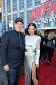 """HOLLYWOOD, CA - JUNE 25: Producer Kevin Feige (L) and Actor Evangeline Lilly attend the Los Angeles Global Premiere for Marvel Studios' """"Ant-Man And The Wasp"""" at the El Capitan Theatre on June 25, 2018 in Hollywood, California. (Photo by Charley Gallay/Getty Images for Disney) *** Local Caption *** Evangeline Lilly; Kevin Feige"""