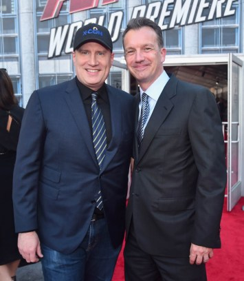"""HOLLYWOOD, CA - JUNE 25: Producer Kevin Feige (L) and President of Walt Disney Studios Motion Picture Production, Sean Bailey attend the Los Angeles Global Premiere for Marvel Studios' """"Ant-Man And The Wasp"""" at the El Capitan Theatre on June 25, 2018 in Hollywood, California. (Photo by Alberto E. Rodriguez/Getty Images for Disney) *** Local Caption *** Kevin Feige; Sean Bailey"""