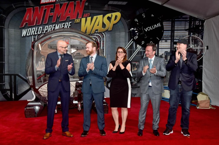 """HOLLYWOOD, CA - JUNE 25: (L-R) Director Peyton Reed, Producer Stephen Broussard, Executive Producer Victoria Alonso, Executive Producer Louis D'Esposito, and Producer Kevin Feige attend the Los Angeles Global Premiere for Marvel Studios' """"Ant-Man And The Wasp"""" at the El Capitan Theatre on June 25, 2018 in Hollywood, California. (Photo by Alberto E. Rodriguez/Getty Images for Disney) *** Local Caption *** Peyton Reed; Stephen Broussard; Victoria Alonso; Louis D'Esposito; Kevin Feige"""