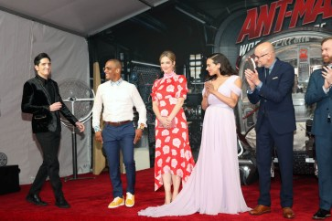 """HOLLYWOOD, CA - JUNE 25: (L-R) Actors David Dastmalchian, Tip """"T.I."""" Harris, Judy Greer, Hannah John-Kamen, and Director Peyton Reed attend the Los Angeles Global Premiere for Marvel Studios' """"Ant-Man And The Wasp"""" at the El Capitan Theatre on June 25, 2018 in Hollywood, California. (Photo by Jesse Grant/Getty Images for Disney) *** Local Caption *** David Dastmalchian; Tip """"T.I."""" Harris; Judy Greer; Hannah John-Kamen; Peyton Reed"""