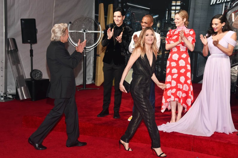 """HOLLYWOOD, CA - JUNE 25: (L-R) Actors Michael Douglas, David Dastmalchian, Tip """"T.I."""" Harris, Michelle Pfeiffer, Judy Greer, and Hannah John-Kamen attend the Los Angeles Global Premiere for Marvel Studios' """"Ant-Man And The Wasp"""" at the El Capitan Theatre on June 25, 2018 in Hollywood, California. (Photo by Alberto E. Rodriguez/Getty Images for Disney) *** Local Caption *** David Dastmalchian; Tip """"T.I."""" Harris; Judy Greer; Hannah John-Kamen; Michael Douglas; Michelle Pfeiffer"""