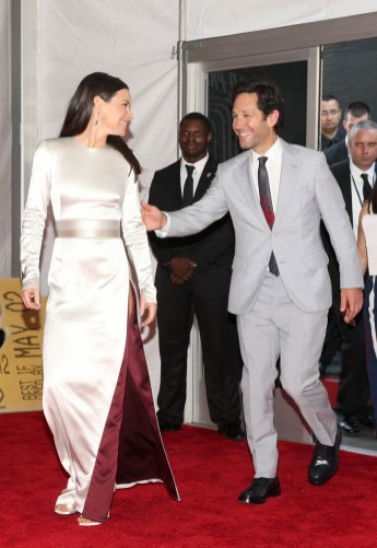 "HOLLYWOOD, CA - JUNE 25: Actors Evangeline Lilly (L) and Paul Rudd attend the Los Angeles Global Premiere for Marvel Studios' ""Ant-Man And The Wasp"" at the El Capitan Theatre on June 25, 2018 in Hollywood, California. (Photo by Jesse Grant/Getty Images for Disney) *** Local Caption *** Paul Rudd; Evangeline Lilly"