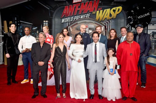 """HOLLYWOOD, CA - JUNE 25: (L-R) Actors David Dastmalchian, Tip """"T.I."""" Harris, Michael Douglas, Judy Greer, Michelle Pfeiffer, Hannah John-Kamen, and Evangeline Lilly, Director Peyton Reed, Actor Paul Rudd, Producer Stephen Broussard, Actor Abby Ryder Fortson, Executive Producer Victoria Alonso, Executive Producer Louis D'Esposito, actor Laurence Fishburne, and Producer Kevin Feige attend the Los Angeles Global Premiere for Marvel Studios' """"Ant-Man And The Wasp"""" at the El Capitan Theatre on June 25, 2018 in Hollywood, California. (Photo by Alberto E. Rodriguez/Getty Images for Disney) *** Local Caption *** David Dastmalchian; Tip """"T.I."""" Harris; Judy Greer; Hannah John-Kamen; Michael Douglas; Michelle Pfeiffer; Stephen Broussard; Peyton Reed; Evangeline Lilly; Paul Rudd; Abby Ryder Fortson; Victoria Alonso; Louis D'Esposito; Laurence Fishburne; Kevin Feige"""