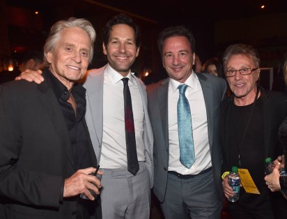 """HOLLYWOOD, CA - JUNE 25: (L-R) Actors Michael Douglas, Paul Rudd, Executive producer Louis D'Esposito and Frankie Valli attend the Los Angeles Global Premiere for Marvel Studios' """"Ant-Man And The Wasp"""" at the El Capitan Theatre on June 25, 2018 in Hollywood, California. (Photo by Alberto E. Rodriguez/Getty Images for Disney) *** Local Caption *** Michael Douglas; Paul Rudd; Louis D'Esposito; Frankie Valli"""