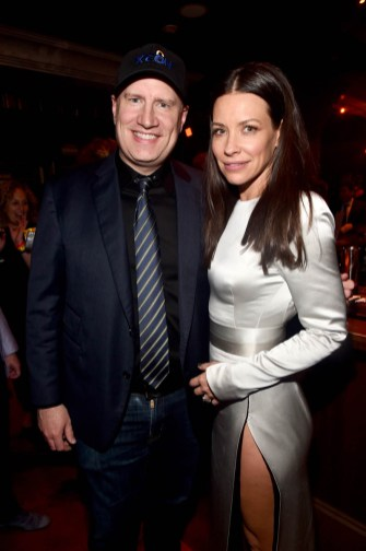 """HOLLYWOOD, CA - JUNE 25: Producer Kevin Feige (L) and actor Evangeline Lilly attend the Los Angeles Global Premiere for Marvel Studios' """"Ant-Man And The Wasp"""" at the El Capitan Theatre on June 25, 2018 in Hollywood, California. (Photo by Alberto E. Rodriguez/Getty Images for Disney) *** Local Caption *** Kevin Feige; Evangeline Lilly"""
