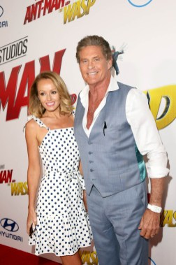 "HOLLYWOOD, CA - JUNE 25: Hayley Roberts (L) and David Hasselhoff attend the Los Angeles Global Premiere for Marvel Studios' ""Ant-Man And The Wasp"" at the El Capitan Theatre on June 25, 2018 in Hollywood, California. (Photo by Jesse Grant/Getty Images for Disney) *** Local Caption *** David Hasselhoff; Hayley Roberts"