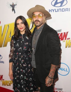 """HOLLYWOOD, CA - JUNE 25: Nikohl Boosheri (L) and Wild the Coyote attend the Los Angeles Global Premiere for Marvel Studios' """"Ant-Man And The Wasp"""" at the El Capitan Theatre on June 25, 2018 in Hollywood, California. (Photo by Jesse Grant/Getty Images for Disney) *** Local Caption *** Nikohl Boosheri; Wild the Coyote"""