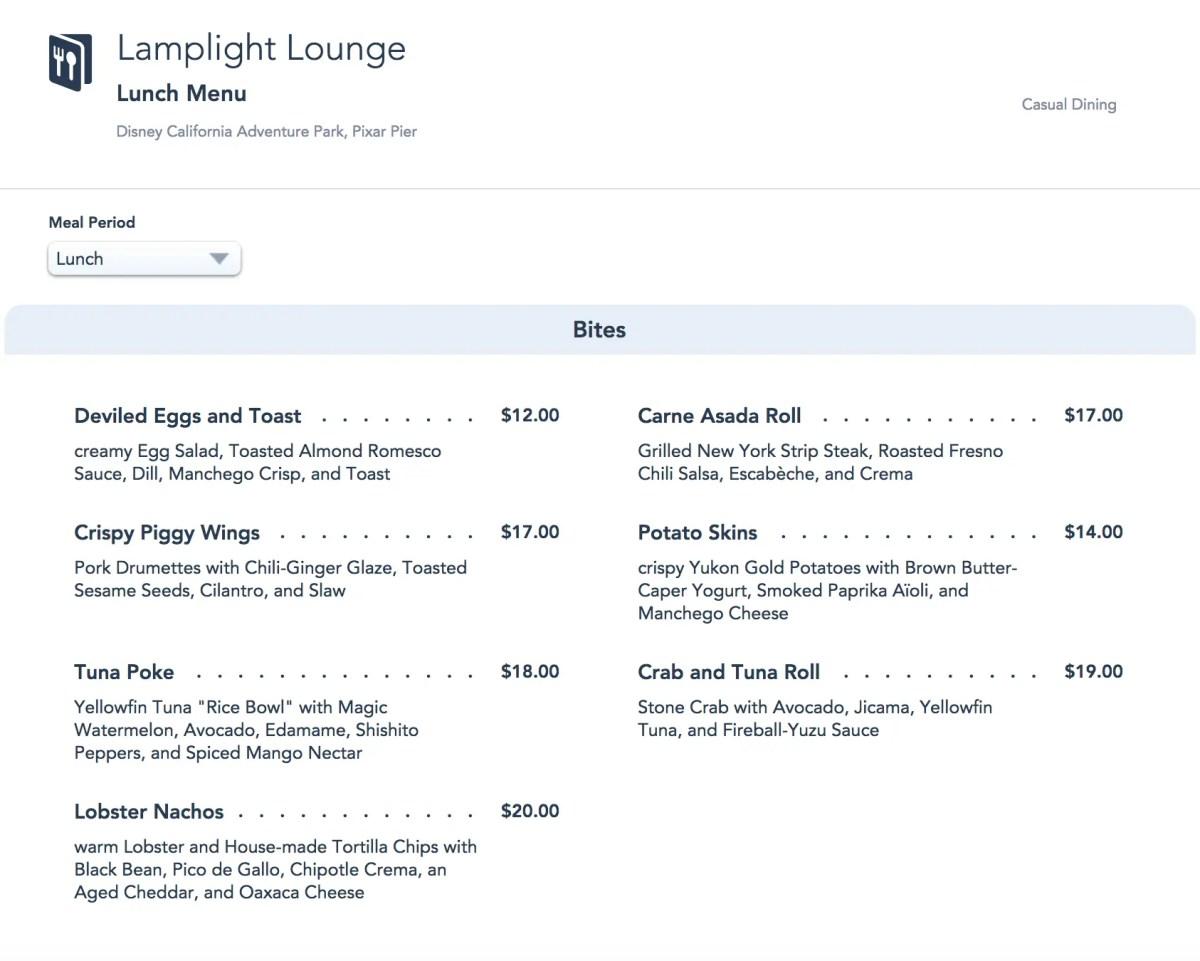 Lamplight Lounge Lunch Menu - Pixar Pier - Disney California Adventure