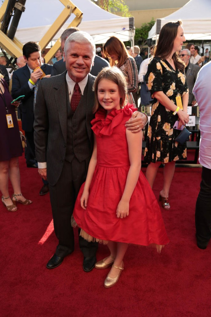 "Producer Brigham Taylor and Bronte Carmichael attend the dedication and re-naming of the historic Orchestra Stage, now the Sherman Brothers Stage A, on the Disney Burbank lot prior to the world premiere of Disney's ""Christopher Robin"" at the studio's Main Theater, on July 30, 2018 in Burbank, CA (Photo: Alex J. Berliner/ABImages)"
