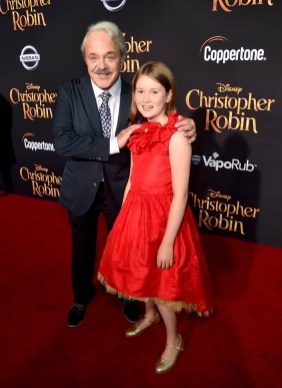 BURBANK, CA - JULY 30: Actors Jim Cummings (L) and Bronte Carmichael attend the world premiere of Disney's 'Christopher Robin' at the Main Theater on the Walt Disney Studios lot in Burbank, CA on July 30, 2018. (Photo by Alberto E. Rodriguez/Getty Images for Disney) *** Local Caption *** Jim Cummings; Bronte Carmichael