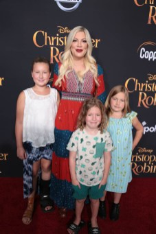 "Stella McDermott, Tori Spelling, Finn McDermott and Hattie McDermott attend the world premiere of Disney's ""Christopher Robin"" at the Main Theater on the Walt Disney Studios lot in Burbank, CA on July 30, 2018. (Photo: Alex J. Berliner/ABImages)"