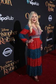"Tori Spelling attends the world premiere of Disney's ""Christopher Robin"" at the Main Theater on the Walt Disney Studios lot in Burbank, CA on July 30, 2018. (Photo: Alex J. Berliner/ABImages)"
