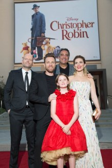 """Marc Forster, Ewan McGregor, Brad Garrett, Hayley Atwell and Bronte Carmichael attend the world premiere of Disney's """"Christopher Robin"""" at the Main Theater on the Walt Disney Studios lot in Burbank, CA on July 30, 2018. (Photo: Alex J. Berliner/ABImages)"""