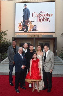 BURBANK, CA - JULY 30: (L-R) Actors Brad Garrett, Jim Cummings, Director Marc Forster, actors Ewan McGregor, Bronte Carmichael, Hayley Atwell and Songwriter Richard M. Sherman attend the world premiere of Disney's 'Christopher Robin' at the Main Theater on the Walt Disney Studios lot in Burbank, CA on July 30, 2018. (Photo by Alberto E. Rodriguez/Getty Images for Disney) *** Local Caption *** Brad Garrett; Jim Cummings; Marc Forster; Ewan McGregor; Bronte Carmichael; Hayley Atwell; Richard M. Sherman