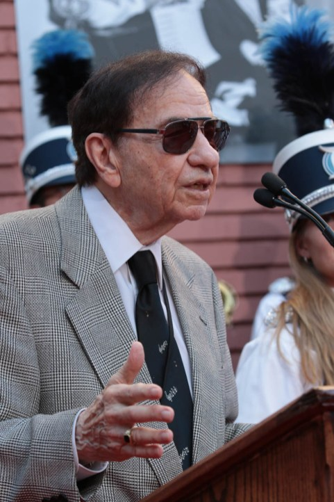 "Richard M. Sherman speaks at the dedication and re-naming of the historic Orchestra Stage, now the Sherman Brothers Stage A, on the Disney Burbank lot prior to the world premiere of Disney's ""Christopher Robin"" at the studio's Main Theater, on July 30, 2018 in Burbank, CA (Photo: Alex J. Berliner/ABImages)"
