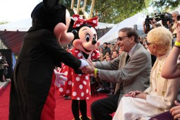 "Mickey Mouse, Minnie Mouse and Richard M. Sherman share a moment at the dedication and re-naming of the historic Orchestra Stage, now the Sherman Brothers Stage A, on the Disney Burbank lot prior to the world premiere of Disney's ""Christopher Robin"" at the studio's Main Theater, on July 30, 2018 in Burbank, CA (Photo: Alex J. Berliner/ABImages)"