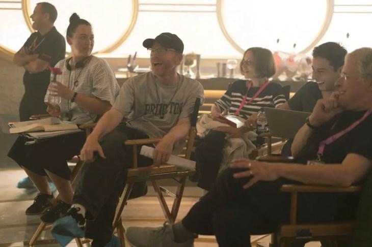 Ron Howard, Jon Kasdan and Lawrence Kasdan on the set of SOLO: A STAR WARS STORY
