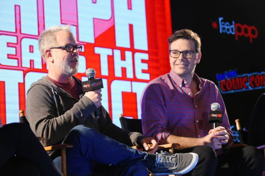 NEW YORK, NY - OCTOBER 05: RALPH BREAKS THE INTERNET directors Rich Moore and Phil Johnston (pictured) and head of story Josie Trinidad reveal new details about the production and unveil never-before-seen footage during a conversation with comedian Dani Fernandez, who makes a cameo as herself in the film, at New York Comic Con at Jacob Javitz Center on October 5, 2018, in New York City. (Photo by Ben Gabbe/Getty Images for Disney Studios) *** Local Caption *** Rich Moore; Phil Johnston
