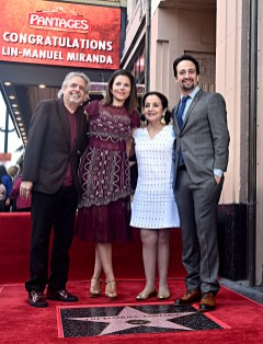 LOS ANGELES, CALIFORNIA - NOVEMBER 30: (L-R) Luis A. Miranda, Jr, Vanessa Nadal, Luz Towns-Miranda and Lin-Manuel Miranda attend the ceremony honoring Lin-Manuel Miranda with a Star on the Hollywood Walk of Fame on November 30, 2018 in Hollywood, California. (Photo by Alberto E. Rodriguez/Getty Images for Disney)