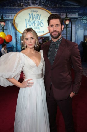 Emily Blunt and John Krasinski attend The World Premiere of Disney's Mary Poppins Returns at the Dolby Theatre in Hollywood, CA on Wednesday, November 29, 2018 (Photo: Alex J. Berliner/ABImages)