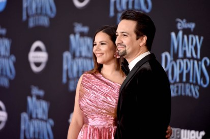 HOLLYWOOD, CA - NOVEMBER 29: Vanessa Nadal (L) and Actor Lin-Manuel Miranda attend Disney's 'Mary Poppins Returns' World Premiere at the Dolby Theatre on November 29, 2018 in Hollywood, California. (Photo by Alberto E. Rodriguez/Getty Images for Disney) *** Local Caption *** Vanessa Nadal; Lin-Manuel Miranda