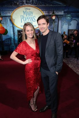 Ashley Hinshaw and Topher Grace attend The World Premiere of Disney's Mary Poppins Returns at the Dolby Theatre in Hollywood, CA on Wednesday, November 29, 2018 (Photo: Alex J. Berliner/ABImages)