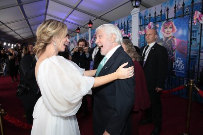 Emily Blunt and Dick Van Dyke share a moment at The World Premiere of Disney's Mary Poppins Returns at the Dolby Theatre in Hollywood, CA on Wednesday, November 29, 2018 (Photo: Alex J. Berliner/ABImages)